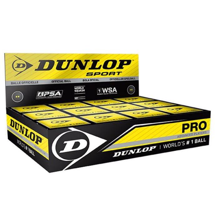 Dunlop (Pro) Squash Ball (BOX) (12-Balls) (Double Yellow Dot) (700108US)