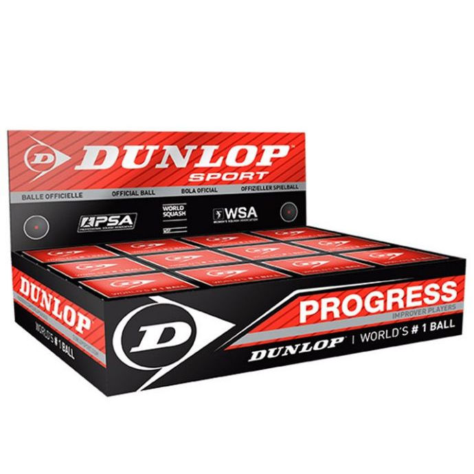 Dunlop Progress Squash Ball BOX (12-Balls) (Red Dot) (700103US)