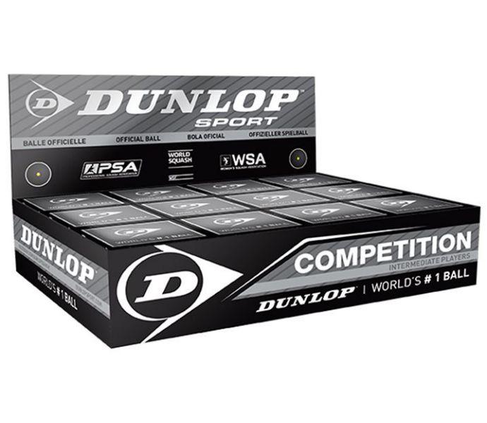 Dunlop (Competition) (Single Yellow Dot) Squash Ball (BOX) (12-Balls) (700112US)