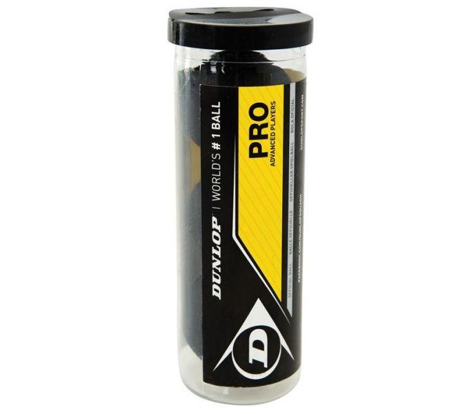 Dunlop (Pro) (Double Yellow Dot) Squash Ball (Tube) (3-Balls) (700110US)
