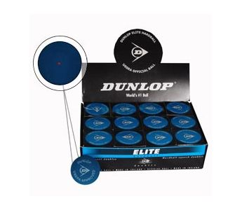 Dunlop Elite Doubles Squash Ball BOX (12-Balls) (Blue Hard Ball w/ Red Dot) (P700202)
