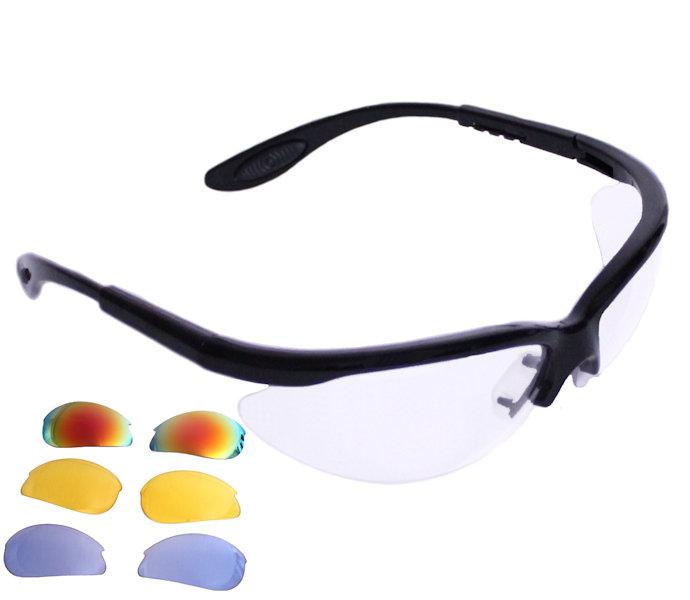 Python RG Multi Lens Black Frame Eyewear w/Protective Case